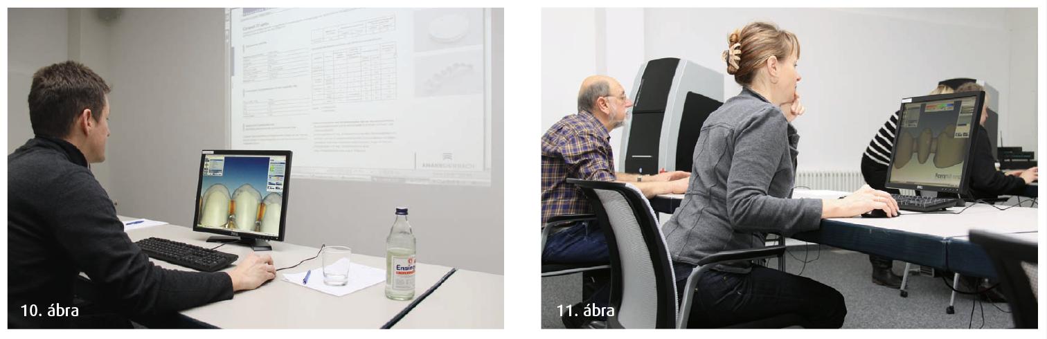 10. ábra: A projektor segítségével minden résztvevő számára jól láthatóak a kurzusvezető munkalépései. 11. ábra: Koncentrált munka a számítógép előtt.