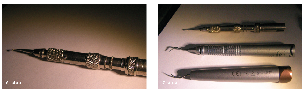 """6. ábra: 20000-60000-es fordulaton """"működő"""" depuráló kézidarab a régmúltból... 7. ábra: A korszerűbb """"levegős"""" kézidarabok. Középen az 1984-es gyártású Sonic flex."""