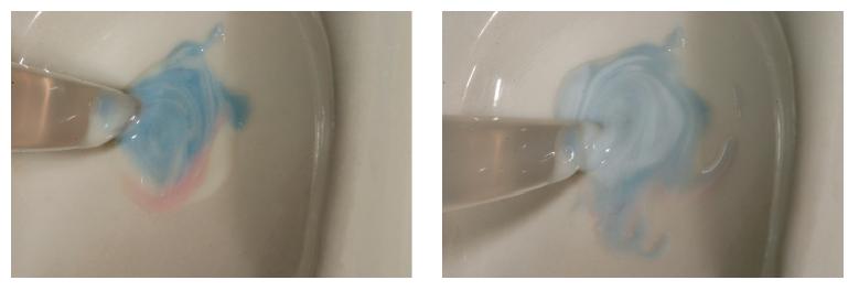 4–5. ábrák: Ahhoz, hogy a legjobb belső színt érjük el a helyreállításon, a lazúrpasztákat jól össze kell keverni.