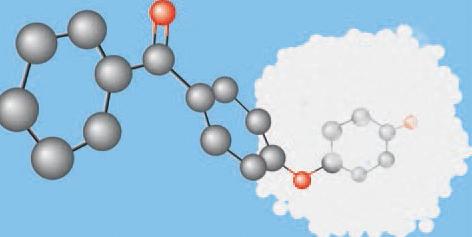 A PEEK molekula felépítése: a fehér felhőszerű rész jelképezi a kerámia töltőanyagot, mely felelős a fogászati felhasználásban a kimagasló fizikai ellenálló képességekért.