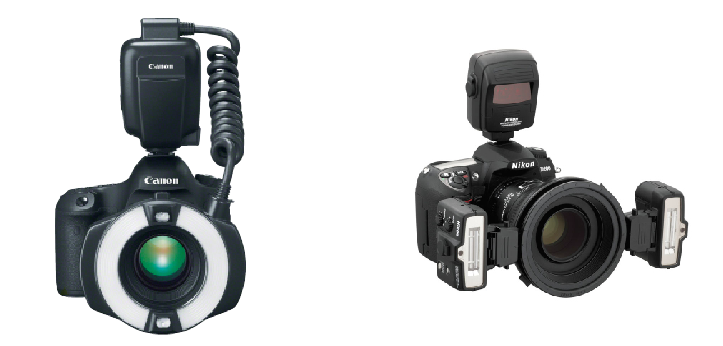 1. ábra: Fogászati fotózásra alkalmas, makró vakukkal felszerelt fényképezőgépek.