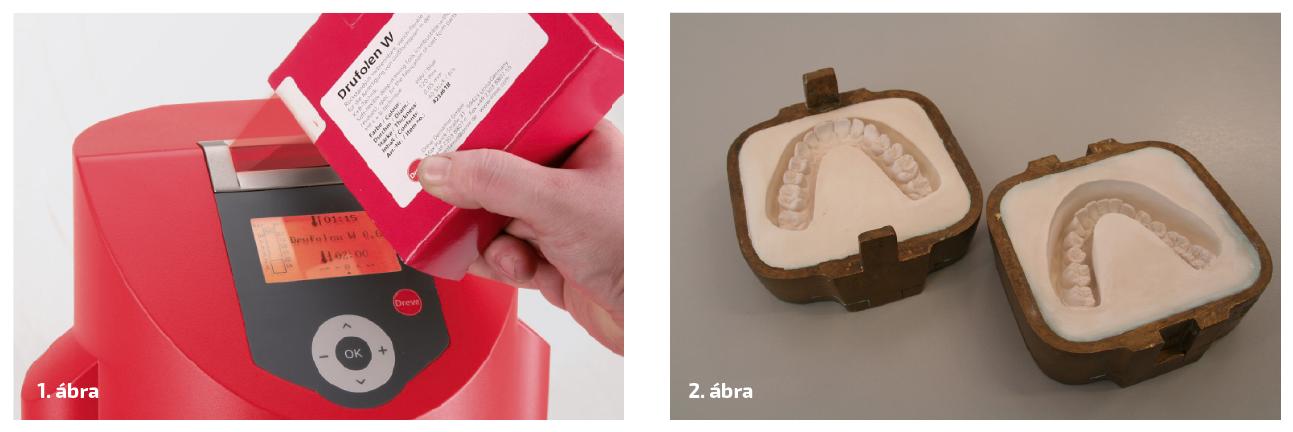 1. ábra: A megfelelő kóddal ellátott fóliacsomagolásról az adatokat beolvashatjuk a Drufomat scan készülékbe. 2. ábra: A két küvettarész a viaszminta kiforrázását követően.