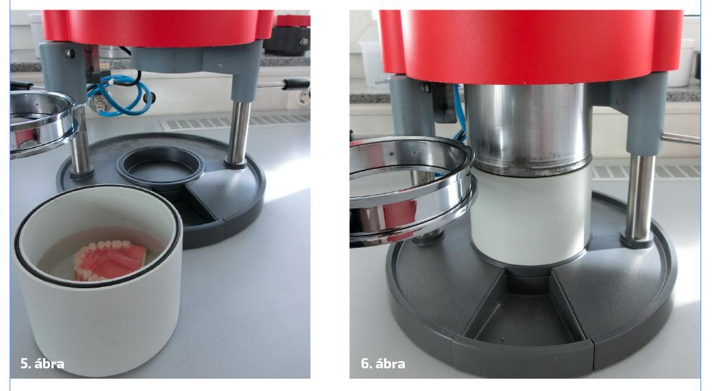 5. ábra: A vízzel töltött és egy fogpótlással bemutatott polimerizációs betét, amely kényelmesen és egyszerűen behelyezhető a multifunkciós készülékbe. 6. ábra: A Drufomat scan készülék integrált polimerizációs betéttel készen áll a polimerizálás folyamatára.