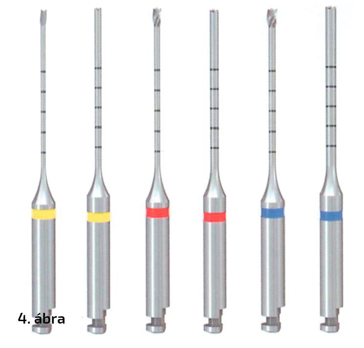 4. ábra: Különböző méretű centráló fúrók és trepánok, a legkisebb külső átmérője 0,7 mm, a középsőé 0,9 mm, a legnagyobbé pedig 1,1 mm (ezek megegyeznek a #2-es, #3-as, #4-es Gates Glidden fúrók átmérőivel).
