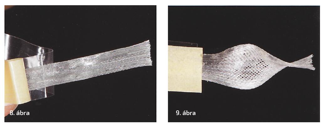 8. ábra: Dentapreg UMF üvegszálas szalag a kicsomagolás után. 9. ábra: A Dentapreg UMF szalagot széthúzhatjuk, így szabadon formázhatóvá válik.