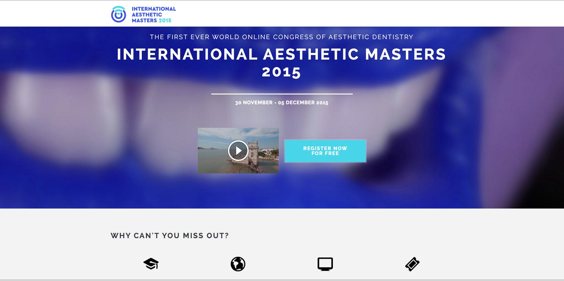 Az online esztétikai kongresszus weboldala, ahol a magyar fogorvosok számára is ingyenes a regisztráció. (www.aestheticmasters2015.com)